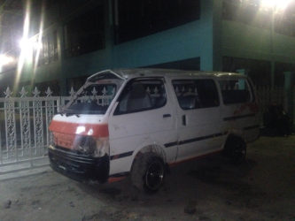 The damaged minibus after the accident along the Nismes Public Road last evening.