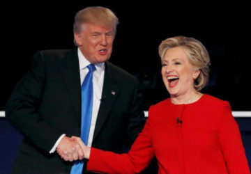 Donald Trump shakes hands with Hillary Clinton at the conclusion of their first presidential debate. (Reuters/Mike Segar)