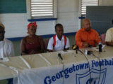 Kelsey Benjamin Jr. (centre) addressing the media gathering at the GFC ground,  Bourda in the presence of father Kelsey Benjamin Sr. (left), mother Linda Forde (second from left), Chase Academy Principal Henry Chase (second from right) and GFC Team Manager Faizal Khan.