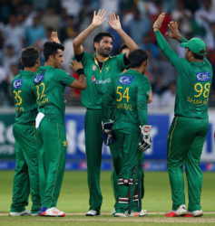 The Pakistan players celebrate their first T20 series win over a test playing nation in the United Arab Emirates since defeating Australia in 2012.