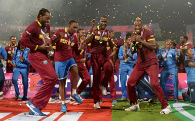 NO DANCING MATTER! The West Indies team celebrates after their World T20 triumph earlier this year but the team is in danger of missing out on an automatic qualification for the 2019 World Cup.