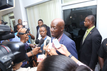 Trinidad and Tobago Prime minister Dr Keith Rowley facing the press in Georgetown earlier this year during the Summit of Caricom  Heads