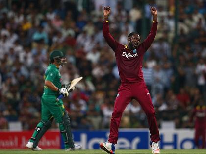 Fast bowler Kesrick Williams celebrates a wicket against Pakistan in the third Twenty20 International on Tuesday.