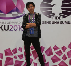 Haifeng Su, in photo, one of Guyana's successful chess players at the conclusion of round six of the 42nd Chess Olympiad in Azerbaijan. There are five rounds yet to be played in the competition. Su, playing board No 4, scored victories against opponents from Guatemala and Fiji, and achieved draws with representatives from Guernsey and Malta. Taffin Khan, playing board two, also garnered 3 points for Guyana with two wins and two draws (a win = 1 point; a draw = 1/2 point; a loss = 0 point). Guyana played Bermuda on Friday in its 7th round match.