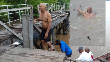 Ashraf Ally after and during his swim across the Berbice River, which he completed in under 40 minutes