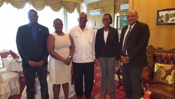 Engaging Trinidad on oil and gas: Trinidad  and Tobago Minister of Energy and Energy Industries  Nicole  Olivierre (second from right) with local ministers David Patterson, Simona Broomes, Winston Jordan and Raphael Trotman