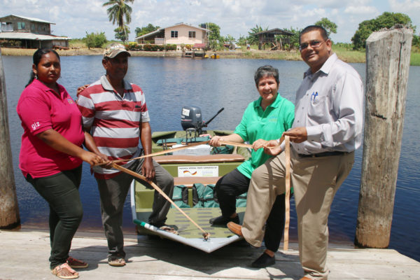 From left: Raywantie Ram (tour guide), Ramesh Shibsahai (boatman), Annette Arjoon-Martins (Project Manager of the Caribbean Aqua Terrestrial Solutions) and Indranauth Haralsingh (Executive Director of the Guyana Tourism Authority).