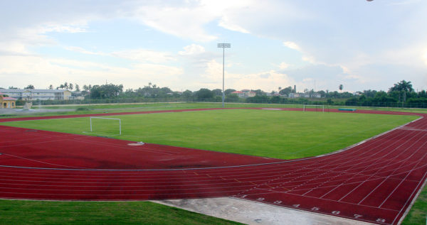 The Leonora Sports Facility which will be evaluated by the Caribbean Football Union (CFU) inspectors for the upcoming fixture between Guyana and Jamaica in the Caribbean Football Union Caribbean Cup third round. (Orlando Charles photo) See story on page 29