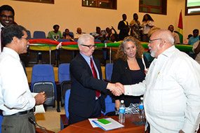 Former president Donald Ramotar (right) at the launch of the MSED Project
