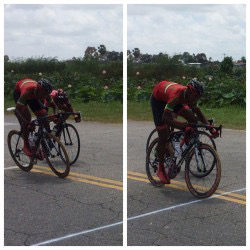 Jamaul John edging out Raphael Leung in yesterday's 13th annual Victor Macedo Memorial Road Race.