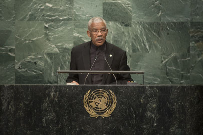 President David Granger addressing the UN General Assembly yesterday (UN photo)