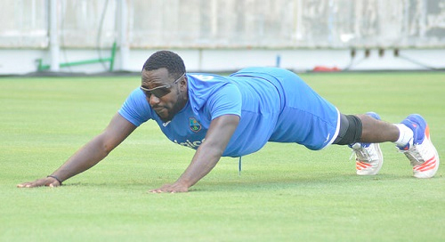 Uncapped Kesrick Williams goes through his paces in training with the West Indies team here this week. (Photo courtesy WICB Media)