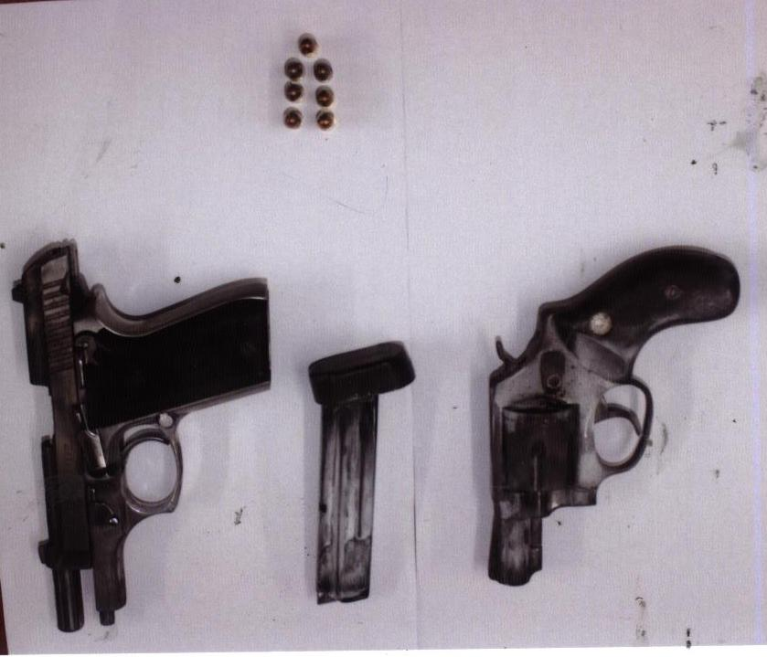 The firearms found in the search (Police photo)