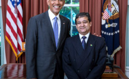 US President Barack Obama (left) with Guyana's Ambassador Dr Riyad Insanally (Ministry of Foreign Affairs photo)