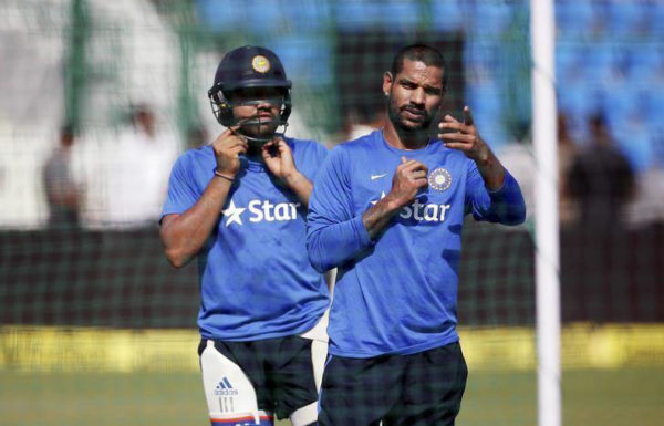 India's Shikhar Dhawan and Rohit Sharma (R) prepare to bat during a practice session ahead of their first one-day international cricket match against South Africa in Kanpur, India, October 10, 2015. (REUTERS/Adnan Abidi/File Photo)