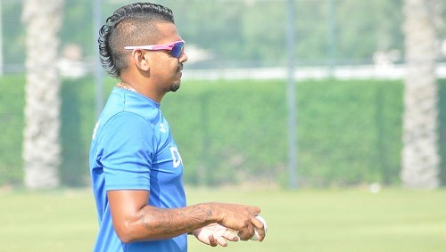 Sunil Narine going through his paces