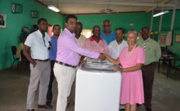 The Guyana Wheel of Service Lodge (GWOSL) has donated a washing machine to the Uncle Eddie's Home for the benefit of the residents. The presentation was done on the 14th September, 2016 by Sase Gunraj (second from left), Master of GWOSL to Denise Boodie, Chairman of the Management Committee of the Uncle Eddie's Home. In brief remarks made by Gunraj, he informed that GWOSL was celebrating its 25th anniversary and in keeping with its stated hallmark of bringing relief to the less fortunate among us, it responded to an urgent need of the Home.