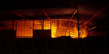 Sections of the roof in the Gafoor's bond collapsed as the fire raged
