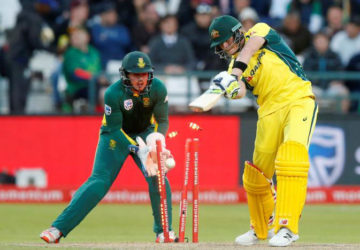 Australia's Steve Smith is bowled by Imran Tahir (not in picture) for nought. (Reuters photo)