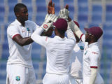 West Indies captain Jason Holder (left) celebrates the wicket of Sohail Khan during his three-wicket haul on the second day of the second Test against Pakistan. (Photo courtesy WICB Media)