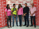 Digicel's Sponsorship and Events Executive, Louanna Abrams (extreme left) pose for a photo with last year's senior race winner, Raynauth Jeffrey, Digicel's Marketing Manager, Jacqueline James and Team Evolution's Secretary and President, Andrew Arjoon and Keith Fernandes following the launch on Friday.