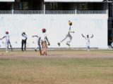 East Ruimveldt celebrate the fall of a Lodge Secondary wicket, during their second round clash in the South Georgetown Zone of the 2016 GCB/NSSCL at Bourda yesterday. Lodge won the match. (Photo by Orlando Charles)