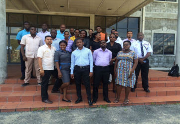 Presenters and Participants in the Trafficking in Persons Training Course for Investigators from the Guyana Police Force's Criminal Investigation Department's Major Crimes Unit. (Ministry of Public Security photo)