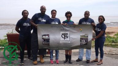 Members of Team CYEN-Guyana during the International Coastal Cleanup Activity 2016 at the Kingston Seawall.