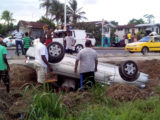 Vishnu Rampersaud's car that turned turtle on the side of the road, at Herstelling East Bank Demerara.