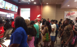 Fast food lovers inside KFC yesterday