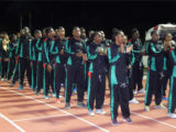 A section of the Suriname contingent at yesterday's opening ceremony.