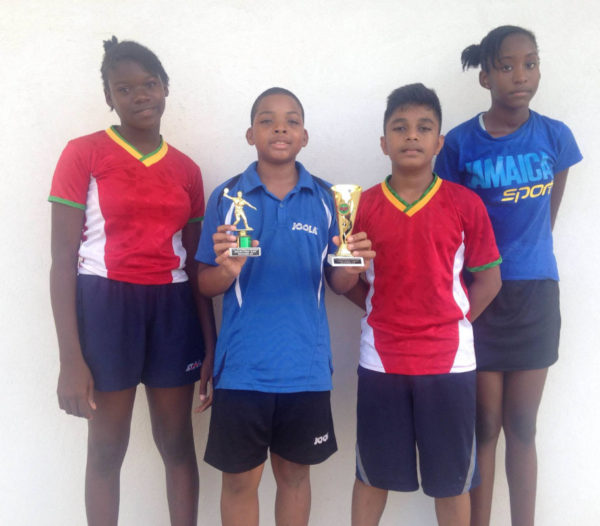 Rising stars-from left to right Neveah Clarkston, Isaiah Layne, Niran Bissu and Thuriah Thomas of the Titans Table Tennis Club.