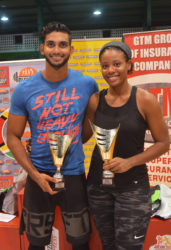 GT's Fittest Man and Woman! Dillon Mahadeo and Semonica Duke after their Cross Fit victories Sunday night at the Cliff Anderson Sports Hall.
