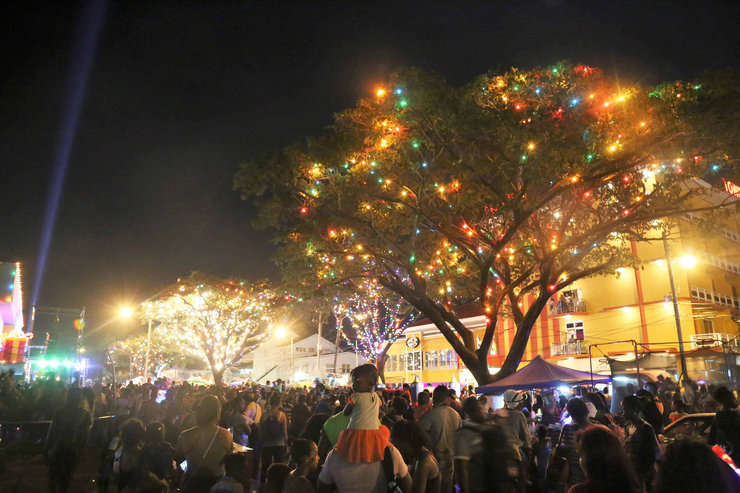 scenes from last evenings courts christmas light up along main street georgetown stabroek news
