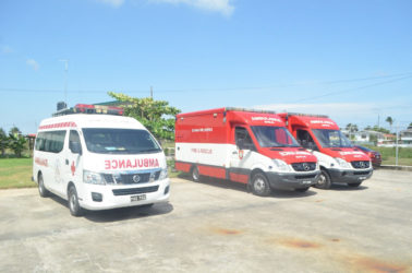 Three of the five ambulances that will be used by the National Emergency Medical Services (GINA photo)