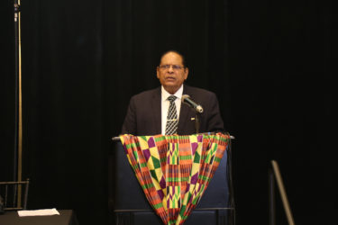 Acting President Moses Nagamootoo gives the feature address at the launching of the African Business Roundtable.
