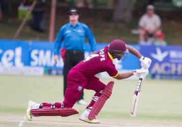 Batsman Shai Hope push drives during his maiden ODI hundred against Zimbabwe on Saturday. (Photo courtesy WICB Media)