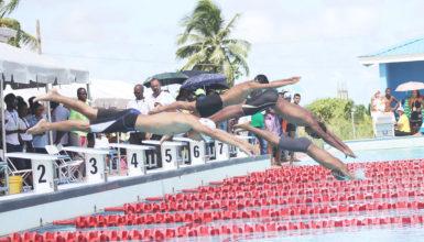 The start of the Boys U-14 50m freestyle. (Orlando Charles photo)