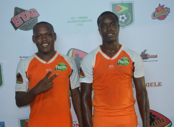 Smiling Assassins- Fruta Conquerors goalscorers from left to right Jermin Junior and Kwame LaFleur