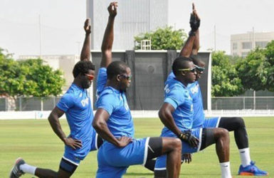 West Indies players during training session ( photo courtesy WICB media)