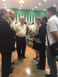 Simona Broomes (second right) engaging representatives of the geological community at the Bolivia forum.
