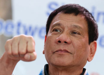 DUTERTE-BACOOR CITY/JANUARY 21, 2016 Presidential candidate and Davao City Mayor Rodrigo R. Duterte at the Signing of the Sister City Agreement held in STRIKE Gymnasium, Bacoor City, Cavite. INQUIRER PHOTO/LYN RILLON