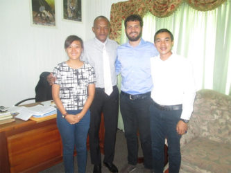 Acting Mayor Sherod Duncan (second from left) along with Project Manager Bernadine Tan (at left) and project coordinators Boyd Srisakunphaet (at right) and Henrik Scharton on their visit.