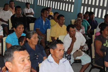 Some of the residents who attended discussions on the Sustainable Development Framework Agreement which was hosted by a team from the Ministry of Indigenous Peoples Affairs and Conservation International Guyana.
