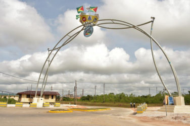 The Centennial Arch, which was funded byBosai Minerals Group (Guyana) Limited, in celebration of 100 years of bauxite mining in Linden. (Ministry of the Presidency photo)
