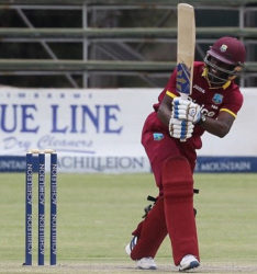 Left-hander Jonathan Carter … finished unbeaten on 43. ( photo courtesy WICB media)