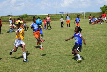Part of the action in the 1-1 draw between St. Angela's (yellow) and F.E. Pollard (blue) in the 3rd Annual Smalta Girls Pee Wee Football Championship at the Ministry of Education ground on Carifesta Avenue