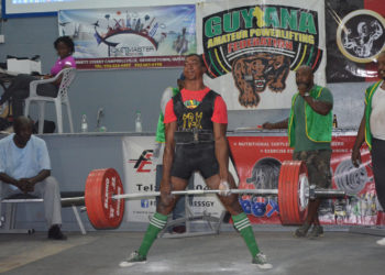 Vijai Rahim dead lifting yesterday at the National Senior Championships. (Orlando Charles photo)