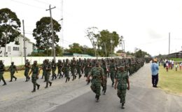 The route march in progress (Ministry of the Presidency photo)