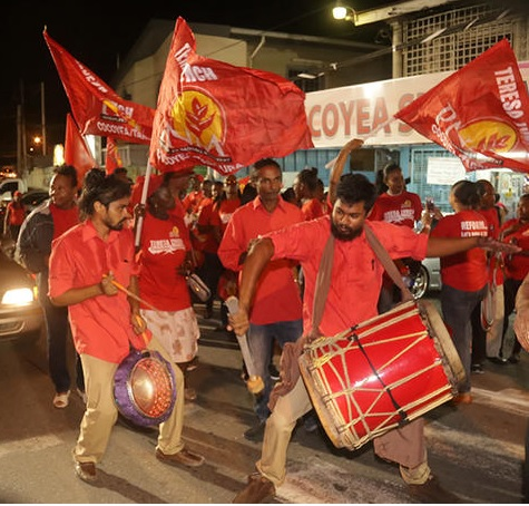 A tassa group entertained PNM supporters during the party's public meeting at Cocoyea on Wednesday night.